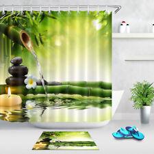 "Spring Basalt Stone Bamboo Fabric Shower Curtain Set 71X71"" Bathroom Accessories"