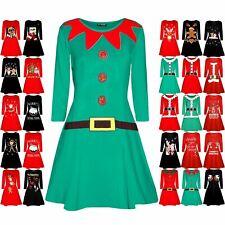 Women Christmas Elf Santa s Little Helper Costume Ladies Long Sleeve Swing  Dress 32af20000d6e