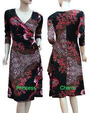 Floral Print Faux Wrap Dress Black Auburn Orange 3/4 Sleeve Size 10 12 14 16 New