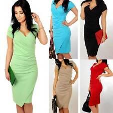 Lady V Neck Bodycon Asymmetry Business Dress Short Sleeve Slim Midi 8-16 On Sale