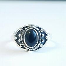 Handmade 925 Sterling Silver Tibetan oxidized ring with Black Onyx stone.