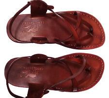 Brown Leather Jesus Roman Sandals Mens Womens Strap Handmade US 5-12 EU 36-46