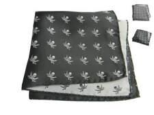 Fazzoletto Pirati fantasia teschi e sciabola pochette da taschino nera grigia