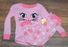 Bobby Brooks Pink Cat Snug Fitting Pajamas PJ Set Paw Print Pants