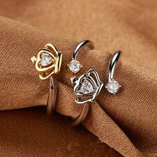 Women Fashion Silver Gold Opening Adjustable Crown Ring Rhinestone Band Rings