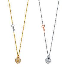14K Yellow or White Gold - Key Heart Lock Charm Lady CZ Pendant Fashion Necklace
