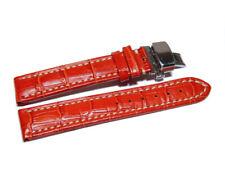 Uhrenarmband mit Butterfly - Leder - Kroko - rot - 18,20,22,24 mm