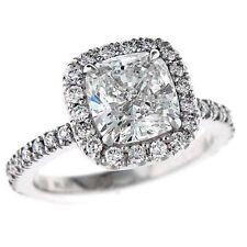 1.10Ct Forever One Cushion Moissanite & Diamond Halo Engagement Ring 14K W Gold