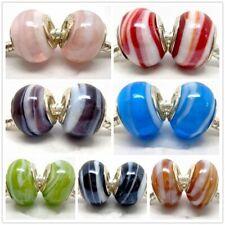 Fashion Shell Design Lampwork Glass Big Hole Beads Fit European Charm Bracelet
