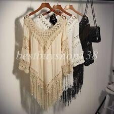 Womens Crochet FRINGE Top V-Neck 3/4 Sleeve Bohemian Boho Shirt Tunic Plus Size