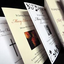Personalised Funeral Memorial Order of Service Folded Card Booklet Sheet Printed