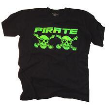 Pirate T-Shirt Schwarz/Neo Grün, Skull, Gothic, Pirat, Pirata,