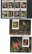 ORCHIDEE - ORCHID FLOWERS UGANDA 1989 set+blocks