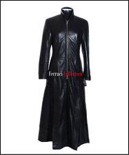 Trinity Matrix Damen Schwarz Smart Lang Echtes Weiches Schaf Nappa Leder Mantel
