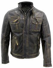 Hombre Vintage Estilo Motero chaqueta calce ceñido Retro De Cuero Real