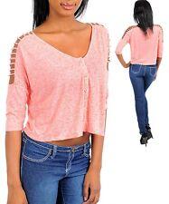 WOMENS Crop top blouse shirt Tee cage open shoulder Henley buttonup S M L Trendy
