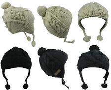 Tricoté à la main épais laine doublure polaire BONNET POMPON CROCHET népalaises