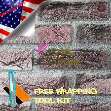*Gray Brick Pattern Stone Textured Vinyl Background Wall Sticker Wallpaper BIR04