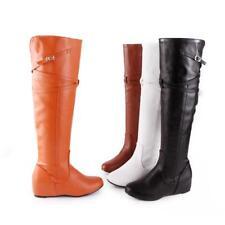 Womens Knee Riding boots High Hidden Heels Buckle Zipper Flats knee high  Boots