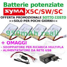 4,3,2 Batterie potenziate 950 VERA Drone SYMA X5C SC SW + ALIMENTATORE DA RETE
