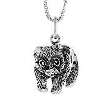 "Sterling Silver Panda Bear Pendant / Charm, 18"" Italian Box Chain"