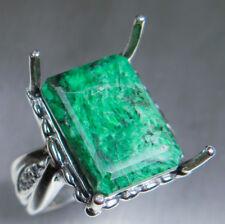 12.4ct Natural Green Maw sit sit 925 silver, 9ct 14k 18k Platinum Gold ring