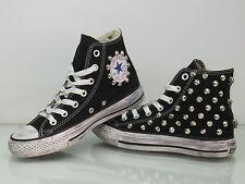 Converse all star Hi borchie e teschi  scarpe donna uomo nero artigianali