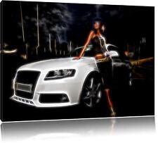 Dark - Frau mit Auto Leinwandbild Wanddeko Kunstdruck