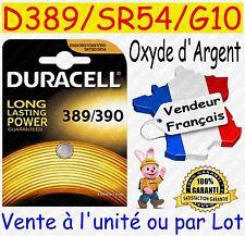 Piles boutons D389 SR54 G10 DURACELL Oxyde Argent - Montre Horlogerie Bijouterie
