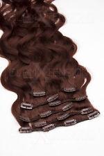 #33 kastanie Clip in GEWELLT Hair Extensions 100% Remy Echthaar 7 teiliges Set