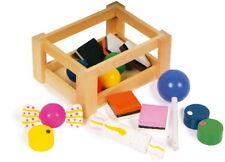 In legno Negozio di giocattoli finta Caramelle BOTTIGLIE di latte frutta o verdura in una cassa Legle