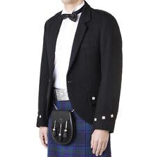 New Tartan Republic Premium Mens Black Scottish Argyle Kilt Wedding Jacket UK