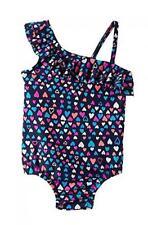 Osh Kosh Girls One Heart Print Swimsuit Size 3T 4 5 6 6X