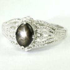 925 Sterling Silver Filigree Ring, Black Star Sapphire, SR365