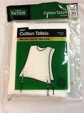 Men's Cotton Tzitzis, Tzitzit, round neck or v-neck, sizes 18-24, FREE SHIPPING