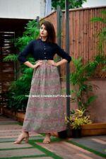 Women Sexy 3/4 Sleeve Boho Cotton Indian Loose Long Maxi Dress Kaftan Dress Gown